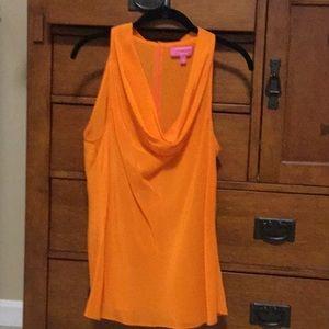 Trina Turk (BR) bright orange top w/ cowl neck